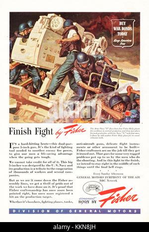 1943 U.S. Magazine Fisher Anti-Aircraft Guns Ad - Stock Image