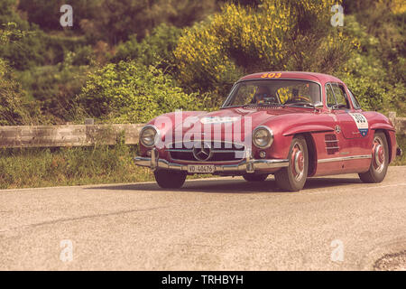 PESARO COLLE SAN BARTOLO , ITALY - MAY 17 - 2018 : MERCEDES-BENZ 300 SL COUPÉ (W198) 1955 on an old racing car in rally Mille Miglia 2018 the famous i - Stock Image