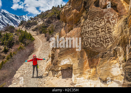 Beautiful Woman Traveler Backpacker Take Rest Mountain Terrace Village.Young Girl Posing Have Fun Camera.North Snow - Stock Image