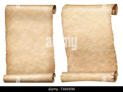 Paper or parchment scrolls set isolated on white - Stock Image