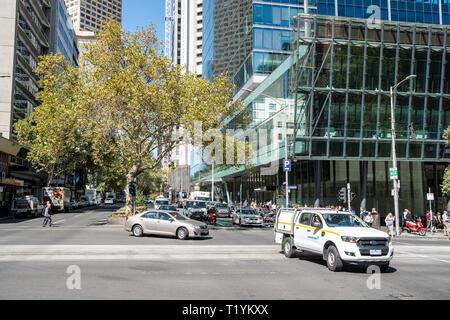 Melbourne urban scene and city centre traffic on exhibition street,Melbourne,Victoria,Australia - Stock Image
