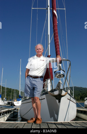 A yacht owner on Beaver Lake in Rogers, Arkansas, U.S.A. - Stock Image