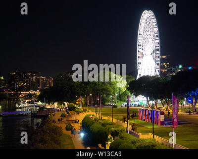 Brisbane Wheel Illuminated At Night - Stock Image