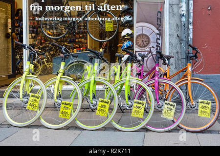 Colorful bicycles in Copenhagen, Denmark - Stock Image