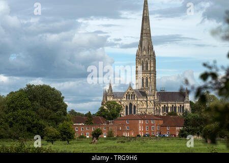 Salisbury Cathedral Wiltshire England UK. May 2019 Painted by the artist John Constable. Salisbury Cathedral, formally known as the Cathedral Church o - Stock Image