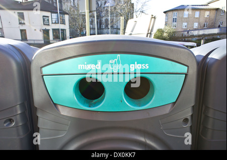 Glass recycling bin in a UK city centre - Stock Image
