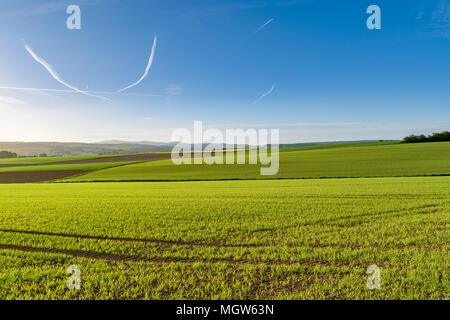 Sunny spring morning in the Taunus mountains, North-West of Frankfurt. View over farmlands near Bad Camberg towards Großer Feldberg. - Stock Image