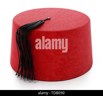 Red fez hat with black tassel. 3D illustration. - Stock Image