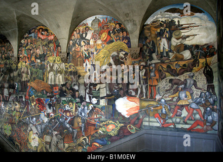 One of the Murals in the National Palace Depicting the History of Mexico, Zocalo Square, Plaza de la Constitucion, - Stock Image