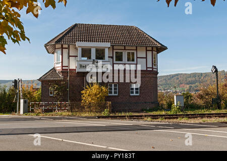 Old signal box, Bad Driburg, NRW, Germany - Stock Image