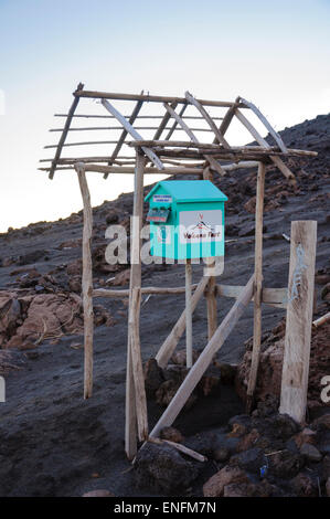 Touristy postbox on the slops of Mount Yasur, a volcano on Tanna Island, Vanuatu, South Pacific. Click for details. - Stock Image
