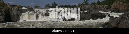Panoramic of the Great Falls of the Potomac River Maryland. - Stock Image