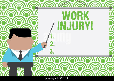Text sign showing Work Injury. Business photo text accident that occurred during and as result of working Businessman standing in front projector scre - Stock Image