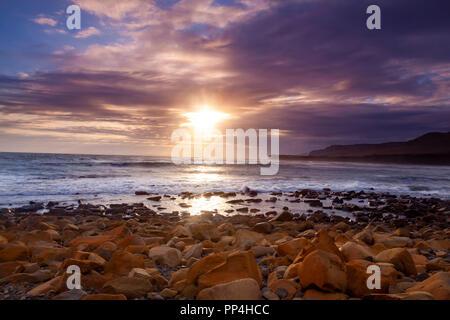 Kimmeridge Bay, Dorset, at Sunset - Stock Image