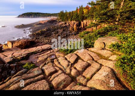 Scarred granite coastline along Ocean Drive in Acadia National Park. - Stock Image
