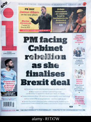 i Newspaper headline 'PM facing Cabinet rebellion as she finalises Brexit deal'   3 November 2018  London UK - Stock Image