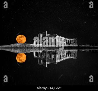 Ghost Town Night Stars Full Moon Saskatchewan Galillee - Stock Image