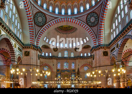 Interior of the Suleymaniye Mosque in Fatih, Istanbul, - Stock Image