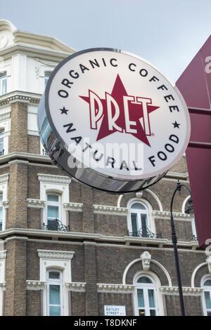 Pret A Manger signage on Tottenham Court Road, London, UK - Stock Image