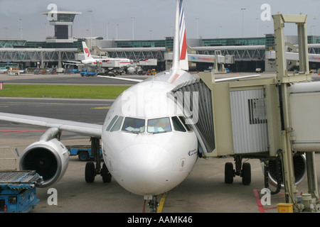 Aircraft at Schiphol Airport Holland Netherlands - Stock Image