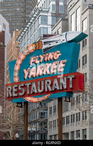 Flying Yankee Restaurant sign. The neon sign lights up at night, see RGRN9C and RGRNEC. Preserved together on Rose Fitzgerald Kennedy Greenway. - Stock Image