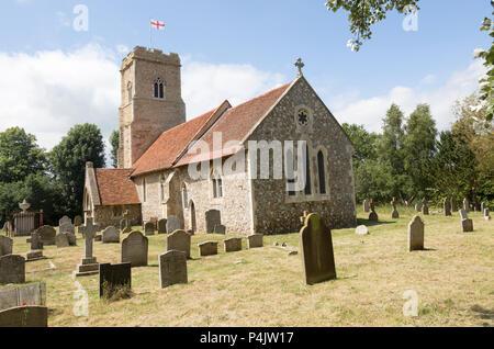 Gravestones around the village parish church of Saint Margaret, Shottisham, Suffolk, England, UK - Stock Image