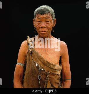 Portrait of Bushman Woman Botswana, Africa - Stock Image