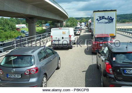 Congested traffic on the A6 autobahn (eastbound), near Saarbrücken in Saarland, Germany. - Stock Image