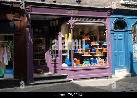 Leather goods shop front Trinity Street Cambridge 2019 - Stock Image