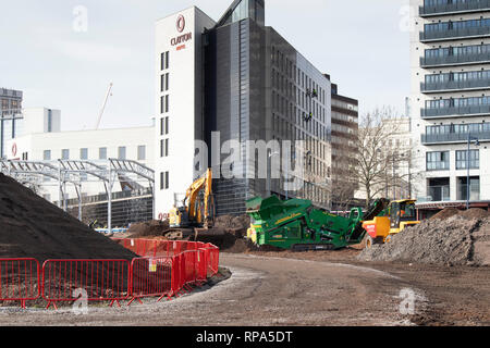 Work begins on building the HS2 High Speed rail terminal in the centre of Birmingham - Stock Image