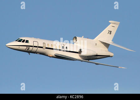 Dassault Falcon 50M maritime patrol jet plane of the French Navy in flight - Stock Image