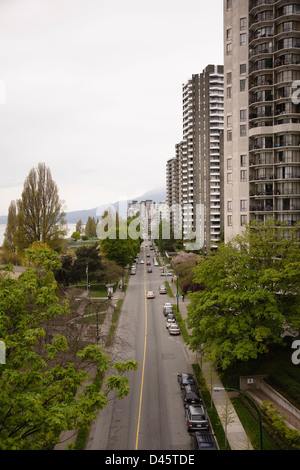Beach Street as seen from Burrard Bridge, Downtown Vancouver, British Columbia, Canada - Stock Image