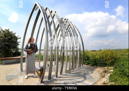 A lady views a memorial for the Shoreham Airshow victims following an unveiling on the banks of the Adur in Shoreham in remembrance to the eleven people who died in the crash in August 2015. - Stock Image
