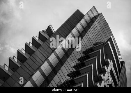 Abstract View of a Modern Building in Black and white - Stock Image