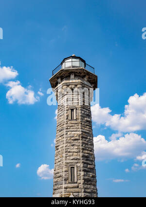 The Lighthouse on Roosevelt Island, New York, NY. Designed by James Renwick, Jr., the Gothic style octagonal stone - Stock Image