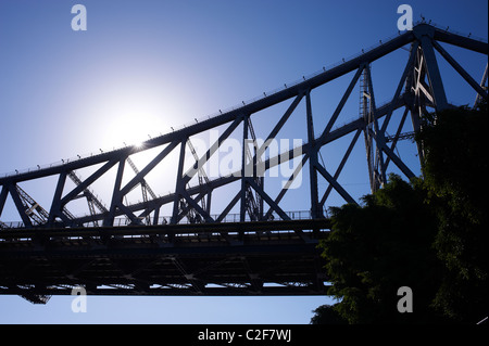 Cyclist on Story Bridge Brisbane Australia - Stock Image