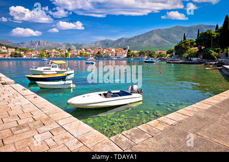Turquoise waterfront of Cavtat view, Town in south Dalmatia, Croatia - Stock Image