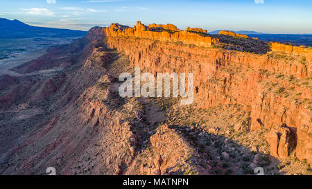 The Moab Wall at sunrise, Behind the Rocks Proposed Wilderness, Utah, Near Moab - Stock Image