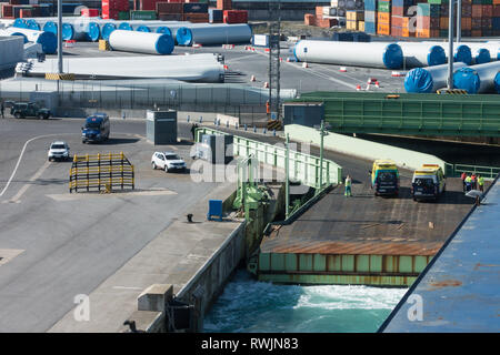 Bilbao, Spain, 7th March 2019. High winds and rough seas prevented the airlit of a lorry driver who had taken ill on board the Brittany Ferry Etretat as it was one and a half hours from the Spanish port of Bilbao on route to Portsmouth UK. The ship turned around and returned to port where the patient was taken away by ambulance. Credit: Mick Flynn/Alamy Live News - Stock Image