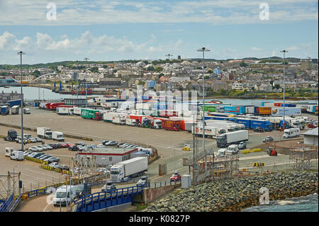 HGV and private cars being loaded onto a ferry in the North Wales port of Holyhead - Stock Image