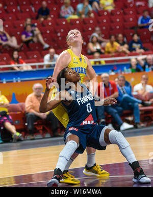 RIGA, LATVIA. 30th of June, 2019. Olivia Epoupa (L) , during European Women Basketball Championship, commonly called EuroBasket Women 2019 , game between team Sweden and team France in Arena Riga, Riga, Latvia. Credit: Gints Ivuskans/Alamy Live News - Stock Image