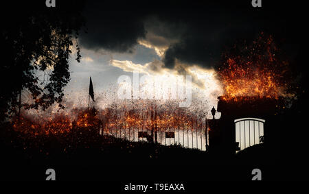Gates to hell with fire - digital manipulation. - Stock Image