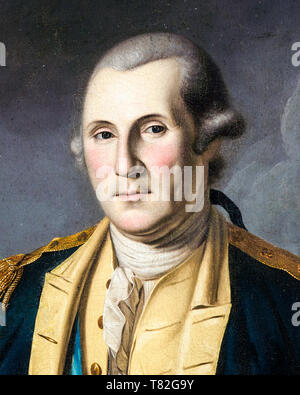 George Washington after the Battle of Princeton, portrait (detail), Charles Willson Peale, 1779 - Stock Image