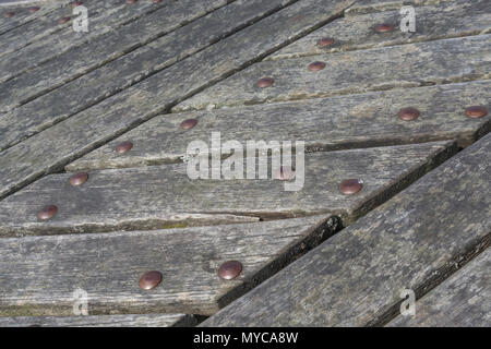 Close detail of the wooden slats forming some public seating at Lemon Quay, Truro, Cornwall. - Stock Image