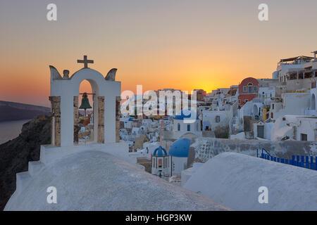 Beautiful sunset at Santorini , Oia village - Stock Image