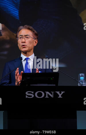 Japan Sony's CEO and President Kenichiro Yoshida attends a press presentation at the company headquarter on May 21, 2019 in Tokyo, Japan. During one hour Sony's CEO gives guideline for Sony corporate strategy. Credit: Nicolas Datiche/AFLO/Alamy Live News - Stock Image