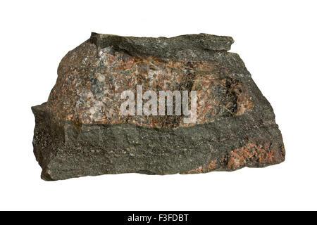 Fenite with carbonate (dark) veins - Stock Image