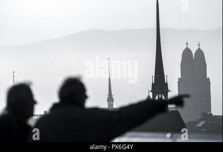 View from ETH over Zurich, churches, Switzerland, canton Zurich, Zurich, city view - Stock Image