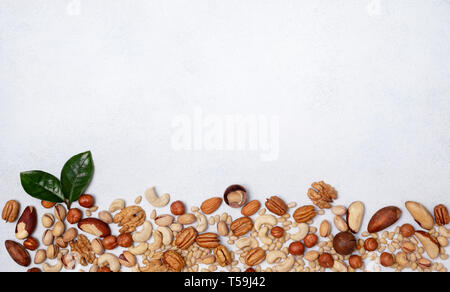 mix of nuts on a light background. view from above. banner. copy space - Stock Image