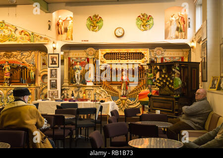 Interior of the Amersham Fair Organ Museum on an open day, Buckinghamshire, UK - Stock Image